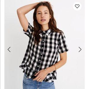 Peplum Button-Down Shirt in Gingham